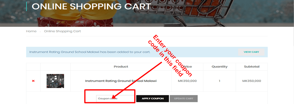 View cart illustration